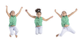 Multiple Poses of Happy Girl Jumping in the Air Royalty Free Stock Image