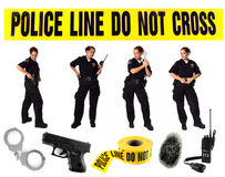 Multiple Poses of a Uniformed Police Officer. On White With Misc Related Items Royalty Free Stock Photos