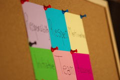 Multiple post-it on coarkboard background Royalty Free Stock Images