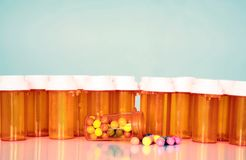 Multiple prescription drug bottles Stock Photography
