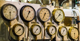 Multiple Pressure Guages Stock Photos