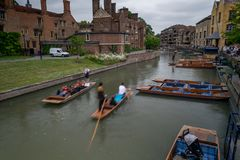 Punting on a river Cam in Cambridge royalty free stock photography