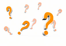 Multiple question marks. With depth of field effect. A 3D rendering Royalty Free Stock Images