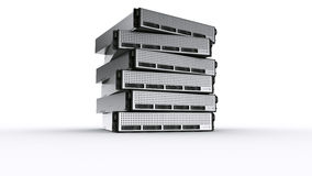 Multiple Rack servers. 3d rendering of multiple rack servers on white background Royalty Free Stock Photos