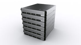 Multiple Rack servers. 3d rendering of multiple rack servers on white background Royalty Free Stock Images