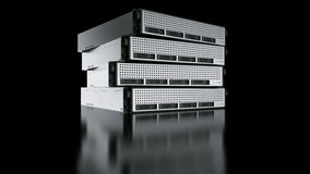 Multiple Rack servers. 3d rendering of a rack server on black reflective ground Stock Photos