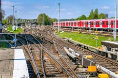 Multiple Railway Track Switches and Signals on a Sunny Spring Day Royalty Free Stock Image