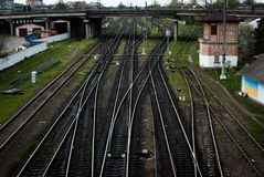 Multiple railway track switches , symbolic photo for decision, separation and leadership qualities.  stock image