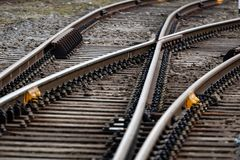 Multiple railway track switches , symbolic photo for decision, separation and leadership qualities. - Image. Multiple railway track switches , symbolic photo for royalty free stock images