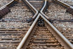 Multiple railway track switches , symbolic photo for decision, separation and leadership qualities. - Image. Multiple railway track switches , symbolic photo for stock photography