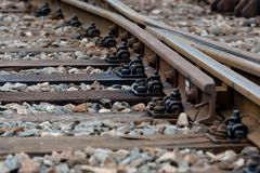 Multiple railway track switches , symbolic photo for decision, separation and leadership qualities. - Image. Multiple railway track switches , symbolic photo for royalty free stock photo