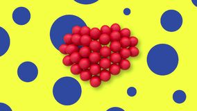 Multiple balloons forming a heart in the center, yellow background blue spots. Multiple red balloons forming a heart and slightly swaying in the air, placed in stock video