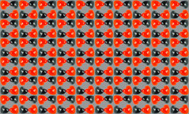 Multiple Red Black Love Marbles with grey backgrou. Multiple combination of small love marble in grey background for background use Stock Image