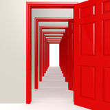 Multiple red doors in a row Royalty Free Stock Images