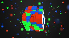 Multiple red, green and blue cubes. RGB color model or 3D model concepts, 3D rendering. Multiple red, green and blue cubes rotating. RGB color model concept Stock Image