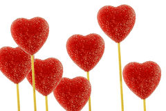 Multiple red heart lollipops Royalty Free Stock Images