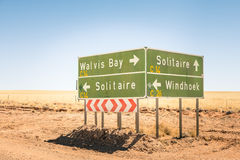 Multiple road sign in Namibia - WalvisBay - Solitaire - Windhoek Stock Image
