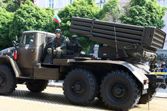 Multiple Rocket Launcher System BM-21 Grad on military hardware parade. Stock Images