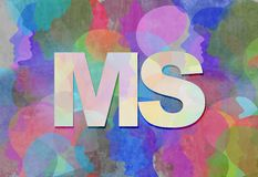 Multiple Sclerosis MS. As a neurological disorder abstract symbol as text with people representing the patients of this nervous system disease in a 3D Stock Image