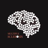 Multiple sclerosis poster with brain. Multiple sclerosis awareness poster with brain made of pills on black background. MS awareness sign. Side view. Medical Royalty Free Stock Photo