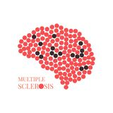 Multiple sclerosis poster with brain. Multiple sclerosis awareness poster with brain made of pills on white background. MS awareness sign. Side view. Medical Royalty Free Stock Photo