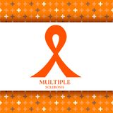 Multiple sclerosis ribbon. Awareness poster with an orange bow on background made of crosses. Central nervous system disease. Medical concept. Vector Royalty Free Stock Images