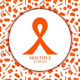 Multiple sclerosis ribbon. Awareness poster with an orange bow on background made of pills, capsules, first aid kits, syringes, thermometers. Central nervous Stock Photography