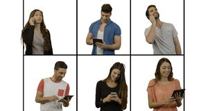 Multiple screen showing people using mobile phone and digital tablet. Against white background stock video