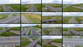Multiple screens transportation videos. Transport, delivery, travelling concept. stock footage