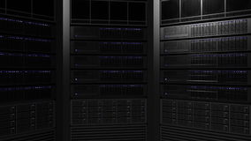 Multiple server racks with blinking lamps. ISP, cloud technology, big data or e-commerce concepts. 3D rendering Stock Images
