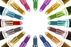 Multiple shades of lipsticks making a circle design Stock Images
