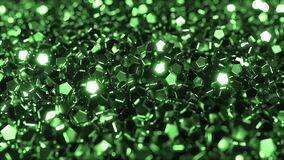 Pile of shiny green crystals stock video