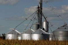 Multiple silos. Silos in a rural field Stock Photos