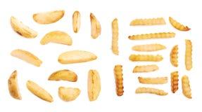 Multiple single potato fries isolated Stock Photos