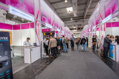 Multiple small China booths at CeBIT information technology trade show Royalty Free Stock Photos
