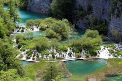 Multiple small waterfalls in lower part of Plitvice lakes national park Royalty Free Stock Image