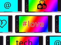 Multiple smartphone screen. With love text Stock Image