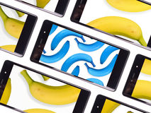 Multiple smartphone screen. Shared a bananas photo Royalty Free Stock Photo