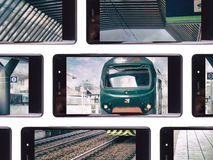 Multiple smartphone. Screen with a shared train station photo Royalty Free Stock Photo