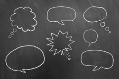 Multiple speech bubbles drawing on chalkboard or blackboard royalty free stock photo