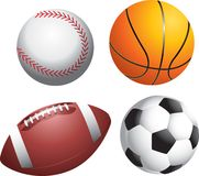 Multiple Sports Balls. Picture of baseball, basketball, football, and soccer ball Stock Photos