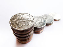 Multiple stacks of coins Stock Photo