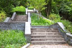 Multiple Stairs Leading Up to Seoul Tower in Namsandong. Multiple Concrete Stairs Leading Up to Namsan Hill. Can Be Used to Symbolize Steps to Success or Greater stock photo