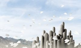 Multiple stone columns with breathtaking landscape stock photography