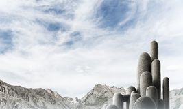Multiple stone columns with breathtaking landscape stock images