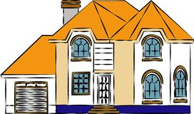 A multiple storeyed cottage home with curved roof depicting multi storey house - Images vectorielles.  vector illustration