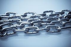 Multiple strands of chrome chain Royalty Free Stock Photo