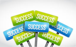 Multiple success road signs illustration design Royalty Free Stock Photo
