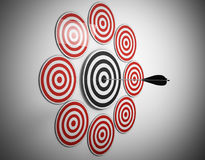 multiple target arrow hits center Stock Photography