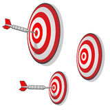 Multiple Targets Precision Aim Darts. Darts thrown at random targets, meant to be a marketing concept Royalty Free Stock Photography